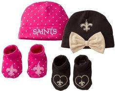 NFL Baby Girl New Orleans Saints 4-Piece Cap & Crib Shoes Set