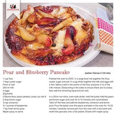 From the simplest of meals to more sophisticated recipes and techniques, Everyday Gourmet will inspire you to get more out of your kitchen. Pear Recipes, Gourmet Recipes, Blueberry Pancakes, Recipe Cards, French Toast, Meals, Breakfast, Food, Blue Berry Pancakes