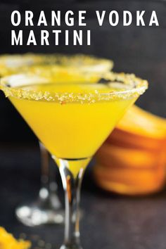 An Orange Vodka Martini is a tasty cocktail for any celebration. With sugar and grated orange zest along the rim, this v Martini Recipes, Alcohol Drink Recipes, Vodka Drinks, Bar Drinks, Yummy Drinks, Cocktail Recipes, Martinis, Bourbon Drinks, Margarita Recipes