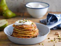 Pancakes à la poire et à la pistache