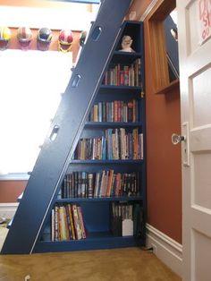 Triangular bookcase to go under a ladder/stairs