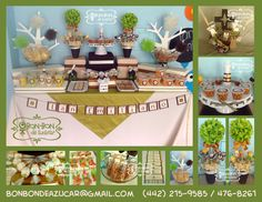 Mesita de dulces y snacks para 30 personas en tonos verde, beige y chocolate. a juego, centros de mesa con bolsitas de ostia y espigas de trigo.