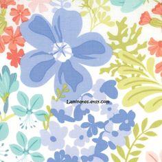 Honey Floral Violet Linen LAMINATED cotton coated aka by Laminates, $14.98