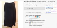 Eileen Fisher skirt $3 at thrift store sold for $35 + $6 shipping.