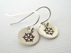 Hand Stamped Jewelry - Sterling Silver Personalized Earrings - Snowflakes