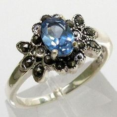 Come bid! :) 'Gorgeous Blue Topaz & Genuine Marcasite SS Ring Sz 7' is going up for auction at 7pm Fri, May 10 with a starting bid of $1.