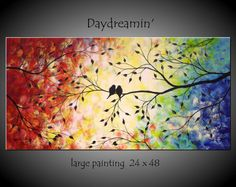 Large Abstract Love Birds in Tree Painting by jmichaelpaintings, $199.00