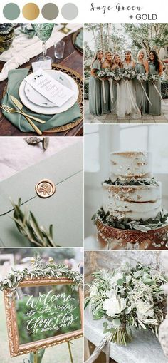 Top 10 Fall Wedding Colors for 2019 Trends You'll Love. sage green and gold fall wedding color ideas for Having a fall wedding is all about bringing a sense of coziness and richness to your big day, and that's why autumn is always the. Fall Wedding Colors, Wedding Color Schemes, October Wedding Colors, Color Themes For Wedding, Botanical Wedding Colors, Weding Colors, Summer Wedding Themes, Wedding Color Palettes, November Wedding Colors
