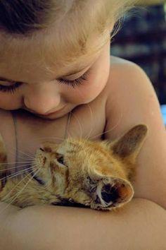 Kitty + baby = cute
