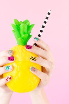 A tutti frutti summer manicure