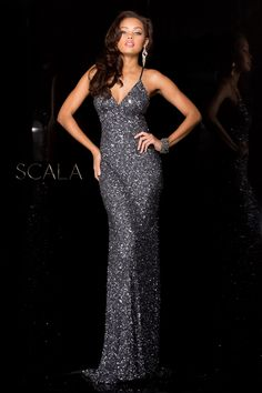 #SCALA Fall 2016 style 47551 Charcoal. #scalausa #sequins #gown #fall2k16 #hoco2k16 #homecomingdress #dress #specialoccasion #sparkle #redcarpet #fall2016 #pageant www.scalausa.com