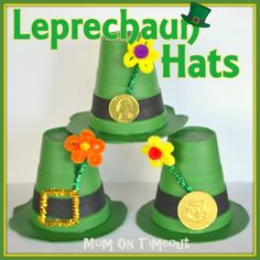 Leprechaun Hats are such a fun craft for St. Patrick's Day! Styrofoam cups & plates~ cute! | MomOnTimeout.