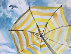 Take shade under the beach umbrella and be instantlly transported to the beach with this print. An archival print of an original painting by Abigail Gray Swartz. Arrives in a plastic sleeve in a sturd