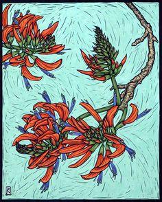 Coral Tree43.5 x 35.5 cm  Edition of 50Hand coloured linocut on handmade  Japanese paper.  Rachel Newling.