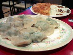 A plate of spinach and mushrooms dumplings at the Dumpling House, Toronto (Will Castillo) Spinach Stuffed Mushrooms, Dumplings, Plate, Breakfast, Noodles, Toronto, Desserts, Restaurant, Goals