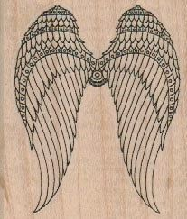 Steampunk Angel bird wings rubber stamps place cards gifts   wood mounted  number18658 on Etsy, $9.25