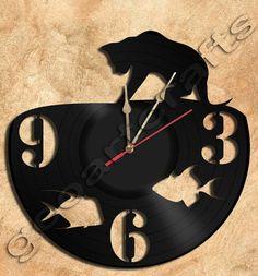 Wand Uhr Angeln Cat Vinyl Rekord Clock Upcycled Geschenkidee