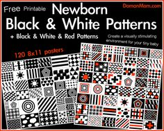 Free Printable Black & White & Red Patterns for Your Newborn