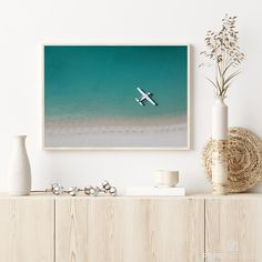 Have you ever dreamed of landing with a seaplane directly in front of a white beach? With this lovely picture, showing an aerial view of a seaplane at the famous Whitehaven Beach on the Whitsunday Islands, Australia we'd love to bring the relaxing beach feeling to your home. Australia Beach, Beach Print, High Resolution Picture, Frame Sizes, Beach Photography, Aerial View, Printing Services, Ocean, Wall Art
