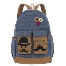 Girls' Backpack Beard Pattern Canvas School Bag Women Casual Dot Mustache Print Shoulder Bag