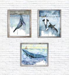 Wal Aquarell Druck mit dem Titel Fathoms von TheColorfulCatStudio