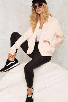 Rex Satin Bomber Jacket - Pink - Clothes | Bomber + Utility | Bombers