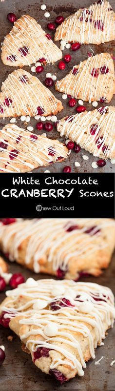 White Chocolate Cranberry Scones Recipe - With FRESH cranberries! Moist and super festive for the holidays. Christmas breakfast, brunch, or gifts. Cranberry Scones, Fresh Cranberry Recipes, Scone Recipes, Recipe For Scones, Bread Recipes, Dessert Recipes, Breakfast Recipes, White Chocolate Raspberry, Chocolate Drizzle
