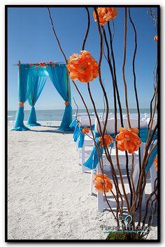 Bamboo Canopy with Turquoise + Aqua+ Orange
