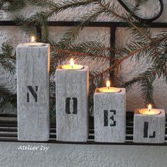 wooden candle holders Christmas