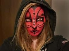 Make up. Looks a little cat-like :/ but blonde could work with my Zabrak sith cosplay.