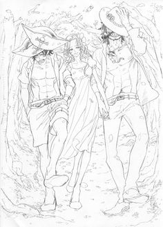One Piece-Portgas D. Ace, Rouge, and Roger