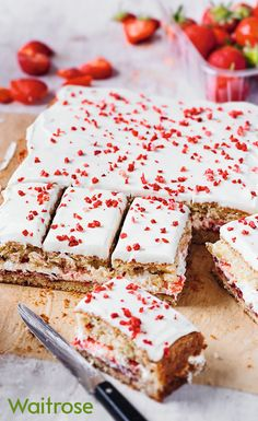 Try our delicious strawberry and cream tray bake; the perfect pudding for a summer party! Tray Bake Recipes, Baking Recipes, Cake Recipes, Dessert Recipes, Desserts, Baking Ideas, Summer Desert Recipes, Traybake Cake, Waitrose Food