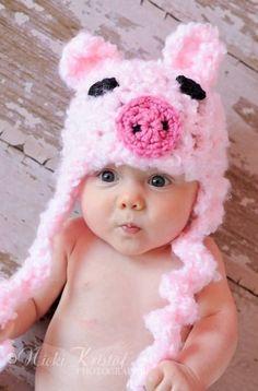 Handmade Baby Crochet Piggy Hat! {Jane Deals}