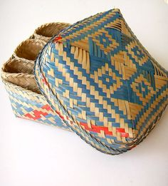Scandinavian style storage basket red and blue