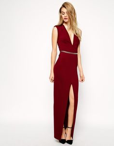 ASOS Deep Plunge Maxi With Belt