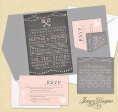 Pocket wedding invitation set.  Vintage style with light strings and vintage keys.  Grey, white and blush pink.  Designed by Jeneze Designs, www.jeneze.com.