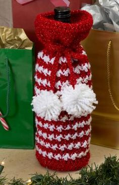 Free Red Heart Pattern  Holiday Spirit Bottle Bag, Great for gifts