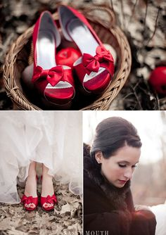 Red satin peep toe bow pumps - Disney Princess Wedding - Snow White {Styled Winter Wedding Photo Shoot – Connecticut} Sassy Mouth Photography | Country Girl Collections | Sassy Mouth Photography {The Blog}