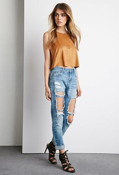 Forever 21 destroyed boyfriend jeans... because destroyed denim is totally in right now.