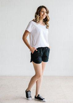 Linen Fray Shorts - Black