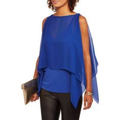 9th Street Apparel Women's Chiffon Flowy Sleeveless Blouse, Size: XL, Blue