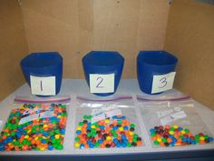 One baggie had 100.  Students wrote their guesses on the tiny slips of paper and placed them in each cup