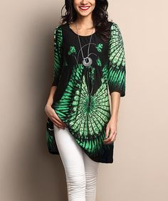 Another great find on #zulily! Black & Green Feather Empire-Waist Tunic Dress #zulilyfinds