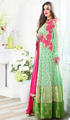 Mint Green Shade Viscose Long Anarkali Churidar Suit An instant mood brightener, this mint green shade viscose long Anarkali churidar suit would be a perfect choice for party. The appealing resham work a significant element of this attire.  #AnarkaliChuridarSuit #AnarkaliSalwarSuitsOnline