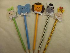 Lembrancinha de bichinhos safari como ponteira de lápis, para nascimento e aniversário. R$ 3,00