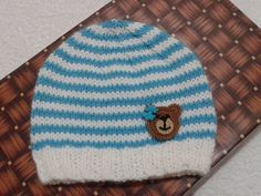 applique bear hats unisex baby hats infant by knitaccessoriesfadik