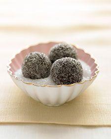 Chocolate-Champagne truffles in sparkling sugar