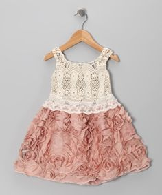 I want to retake our annual pictures just so she coudl wear this dress--  Pink & Crème Crocheted Lace Rosette Dress - Toddler & Girls