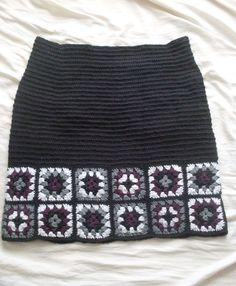 NicMags – My Adventure Granny Square Skirt Skirt Pattern Free, Crochet Cardigan Pattern, Crochet Blouse, Crochet Patterns, Free Pattern, Black Crochet Dress, Crochet Skirts, Crochet Clothes, Crochet Granny