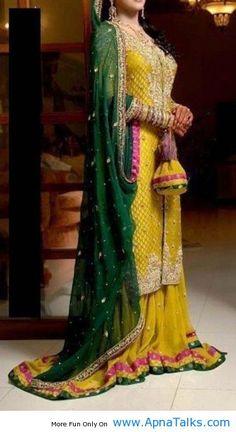 http://www.apnatalks.com/yellow-green-and-red-colour-bridal-mehendi-dress-bridal-dresses-2013/